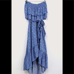 NWT Lulu's Blue Floral Strapless High Low Dress